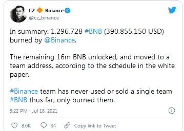 Tweet From Binance