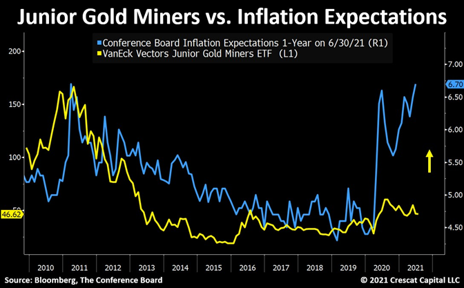 Junior Gold Miners Vs Inflation Expectations