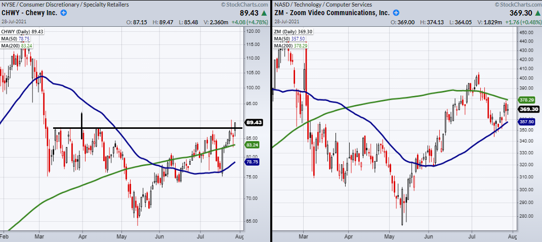 Chewy Inc - Zoom Video Inc Daily Chart