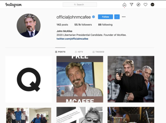 Snapshot Of McAfee's Instagram Page